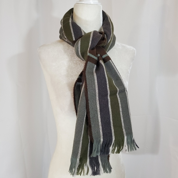 Merino Wool Scarf Scottish Brown Blue Green Fringe